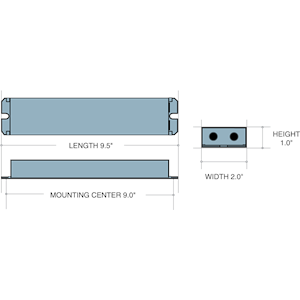 Dimensions - I32 - Length: 9.5in, Width: 2in, Height: 1in, Mounting Center: 9in