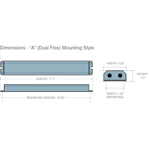 Dimensions - I320 HE A - Length: 17.1in, Width: 2.25in, Height: 1.3in, Mounting Center: 16.65in, Mounting Width: 1.52in