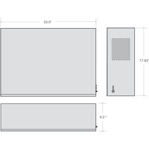 Dimensions - IIS 375 LED - Length: 23in, Width: 8.2in, Height: 17.83in