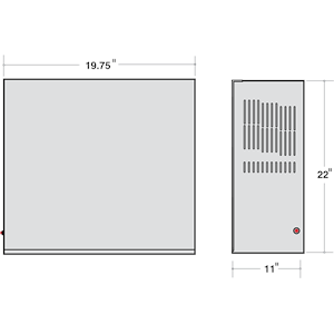 Dimensions - IIS 550 HE - Length: 19.75in, Width: 11in, Height: 22in