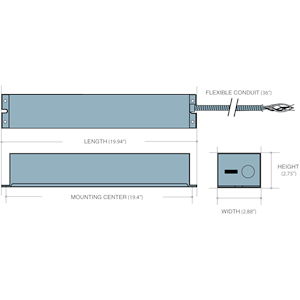 Dimensions - IIS 35 HE - Length: 19.94in, Width: 2.88in, Height: 2.75in, Mounting Center: 19.4in, Flexible Conduit: 36in