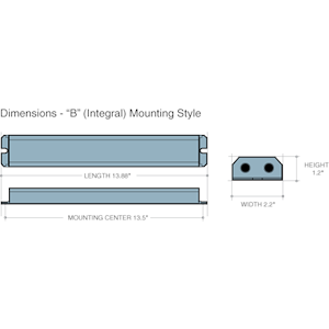 Dimensions - B Mounting Style - Length: 13.88in, Width: 2.2in, Height: 1.2in, Mounting Center 1.35in