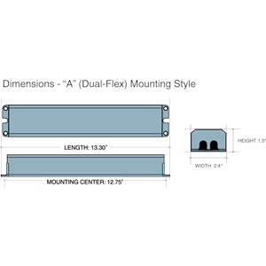 Dimensions - A Mounting Style - Length: 13.3in, Width: 2.4in, Height: 1.5in, Mounting Center 12.75in