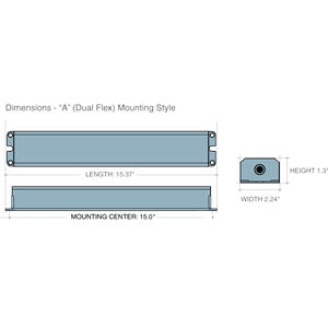 Dimensions - A Mounting Style - Length: 15.37in, Width: 2.24in, Height: 1.3in, Mounting Center: 15in