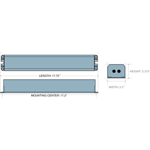 Dimensions - ILB CP20 - Length: 17.75in, Width: 2.5in, Height: 2.375in, Mounting Center: 17.2in