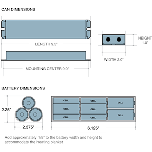 Dimensions - ILB3020 CW - Length: 9.5in, Width: 2in, Height: 1in, Battery Length: 6.125in, Battery Width: 2.25in, Battery Height: 2.375in, Add aproximately 1/8in to battery width and height to accommodate the heating blanket.