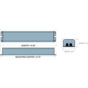 Dimensions - ILB2412 - Length: 13.3in, Width: 2.4in, Height: 1.5in, Mounting Center: 12.75in