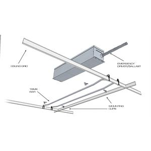 IOTA KIT TBMK showing Ceiling Grid, Emergency Driver/Ballast, Mounting Clips and TBMK Bars