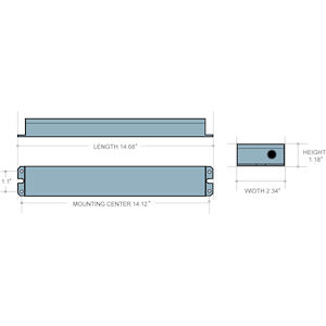 Dimensions - ILBLP CP15 HE SD - Length: 14.68 in., Mounting Center: 14.12 in., Width: 2.34 in., Height: 1.18 in.