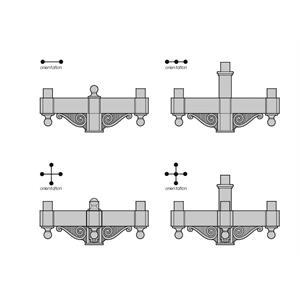 OM Post Top Upright Arms - Cast Aluminum